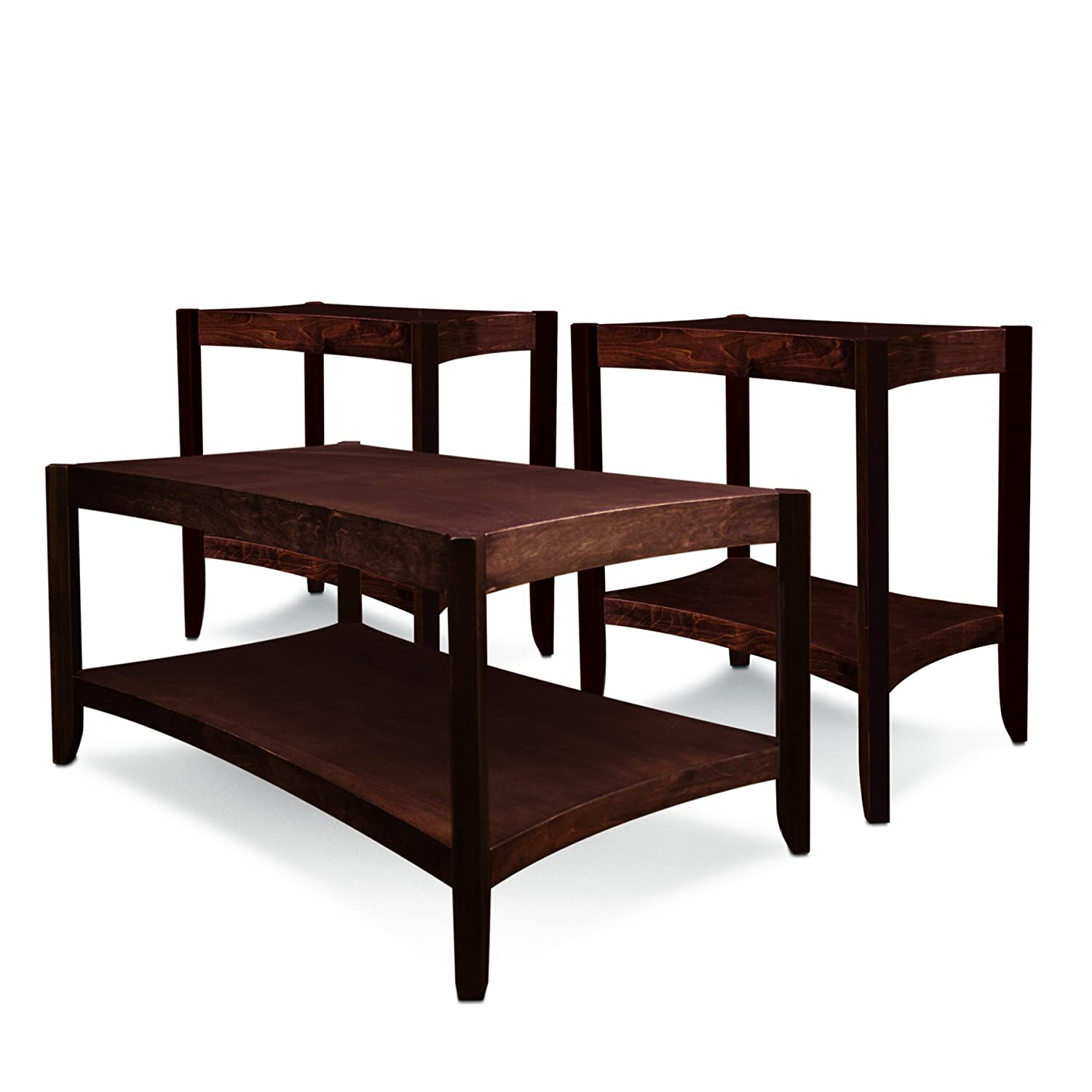 Amazon.com: Leick Condo/Apartment Coffee Table U0026 Two End Tables (3 Pack),  Chocolate Cherry: Kitchen U0026 Dining