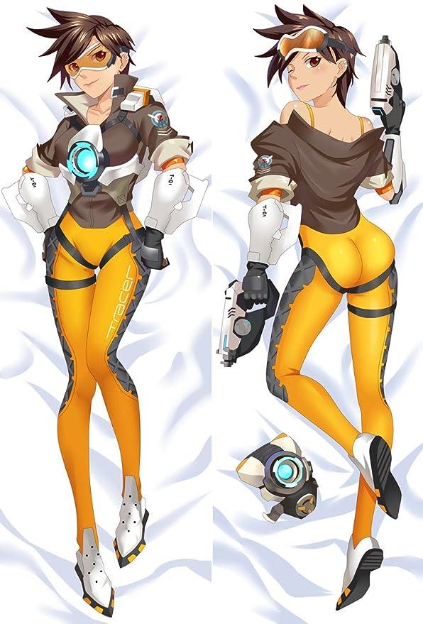 "Overwatch Lena Oxton Tracer Dakimakura Anime Body Pillow Cover Case 150x50 59/"""