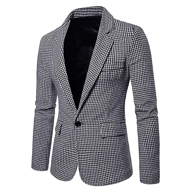 Longra-Uomo Slim Fit Giacca Uomo Casual Blazer di Pied De Poule Elegante  Vestito di Affari Cappotto Giacca One Button Cardigan da Uomo  Amazon.it   ... 54d47e1ab2a