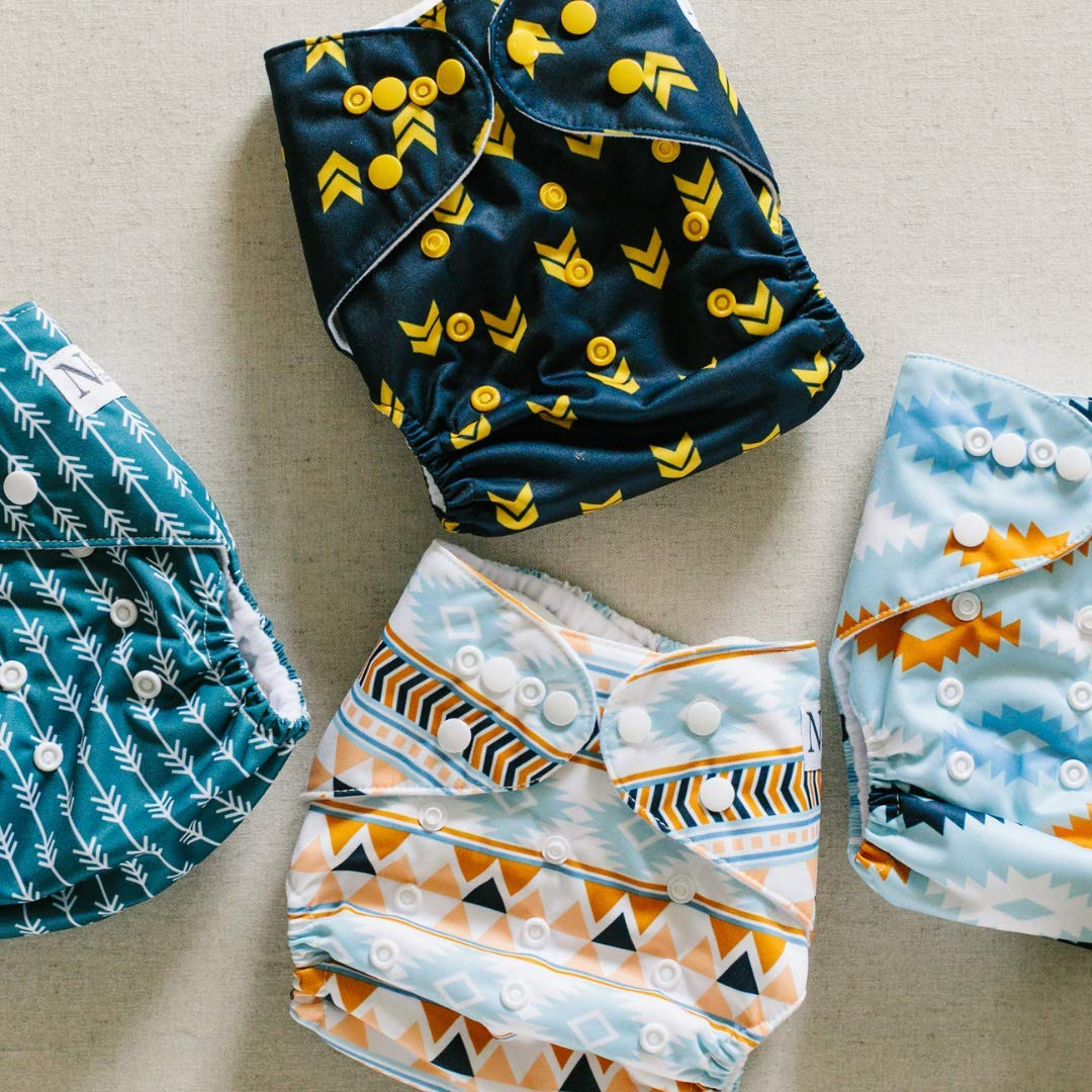 Adventurous Aztec 4-Pack Cloth Pocket Diapers with 4 Bamboo Inserts
