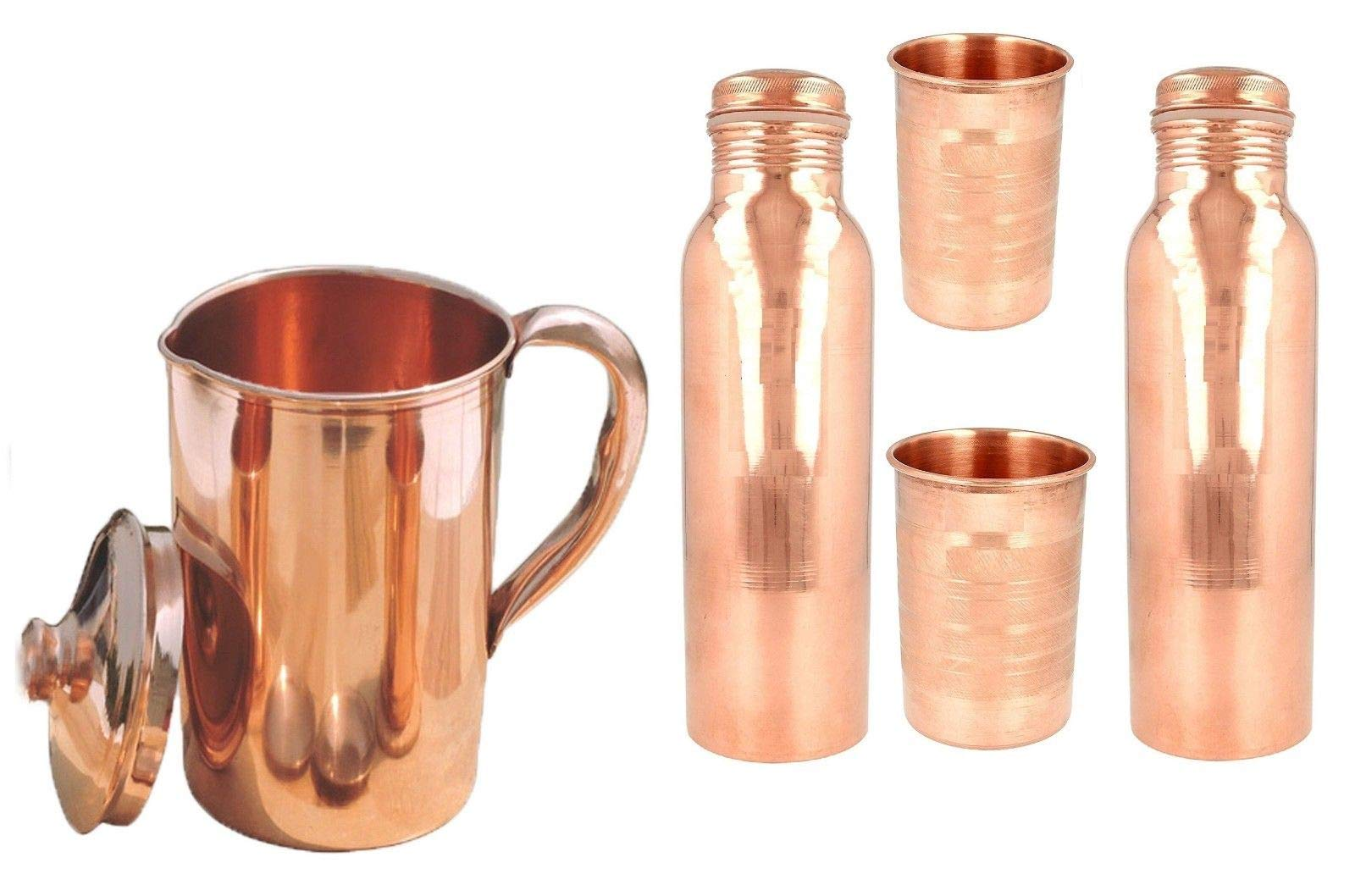 MegaCraft 100% Pure Copper Indian Pure Copper Jug with Leak Proof Bottle Plain Glass Combo for Ayurveda Healing Set.BAS-15