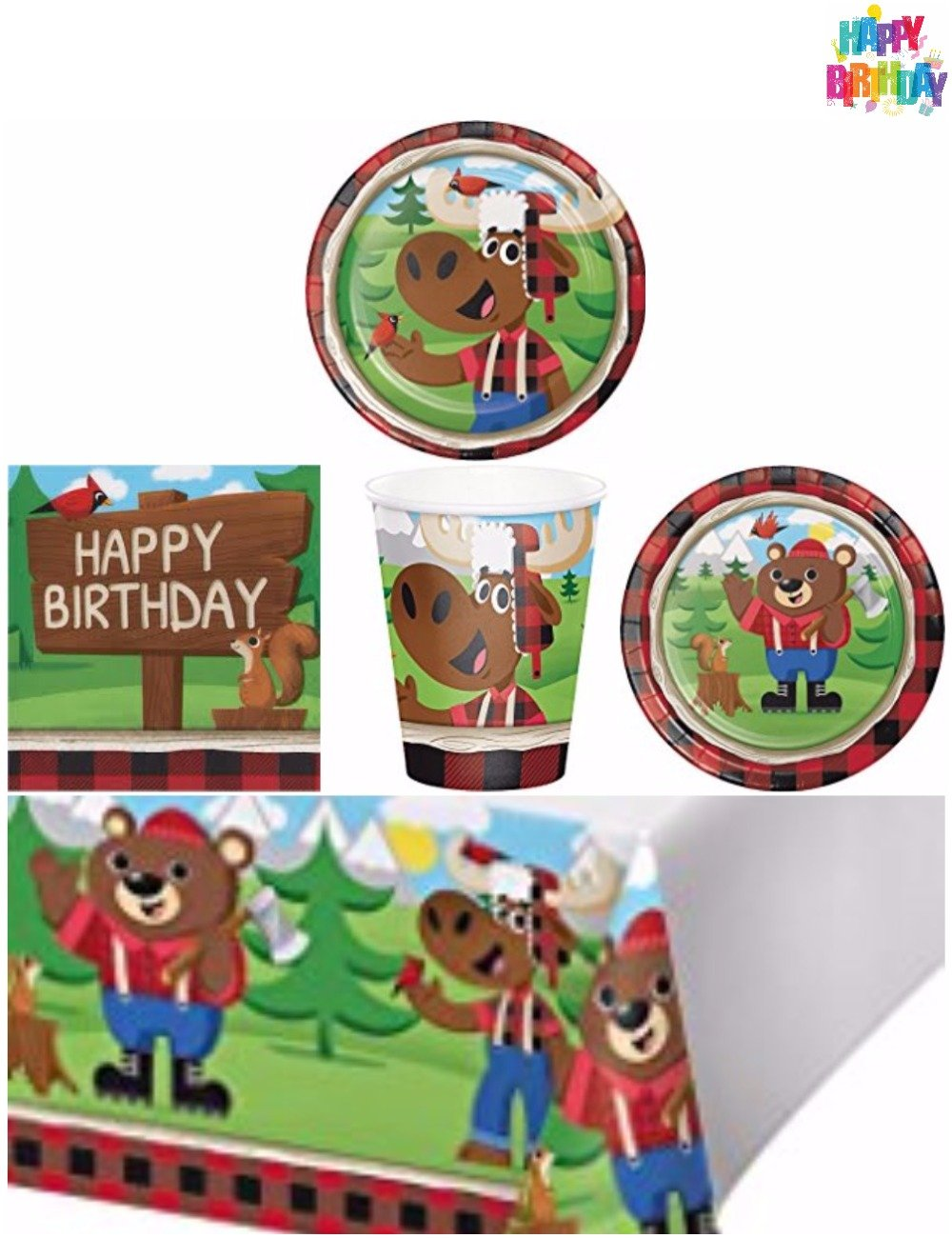 Lumberjack Woodland Animals Party Supplies Pack Kit Boys Birthday Party Kit For 8 Guests - Table Cover, Dinner Plates, Lunch Plates, Cups, Napkins, Happy Birthday Tattoo From Heydays