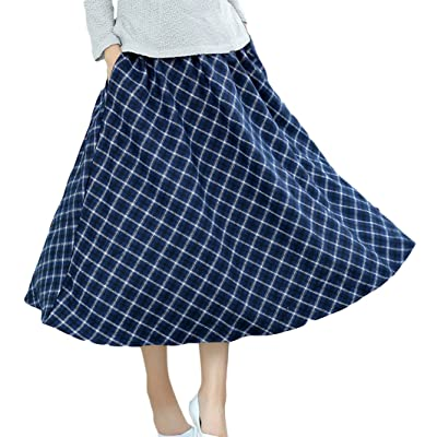 AvaCostume Womens Winter Woolen Rhombus Swing Ankle-Length Skirt