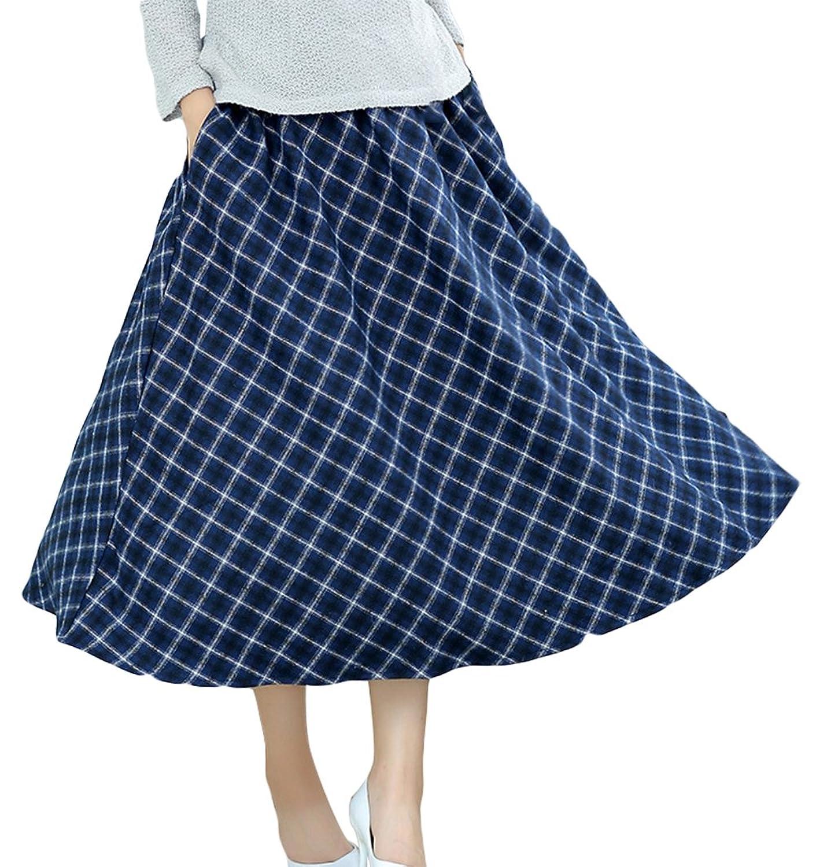 AvaCostume Womens Winter Woolen Rhombus Swing Ankle-Length Skirt