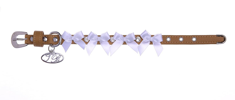 Trilly Tutti Brilli Kim Dog 's Halsband mit Schleifen und Swarovski Nieten, 40cm, beige