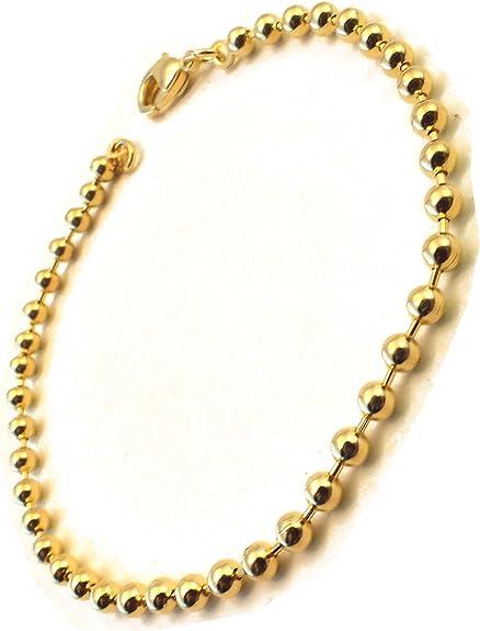 Kugelarmband vergoldet, 3mm breit, Länge wählbar, Armband Herren Armband Goldarmband Damen Fußkettchen Geschenk Schmuck ab Fabrik Italien tendenze