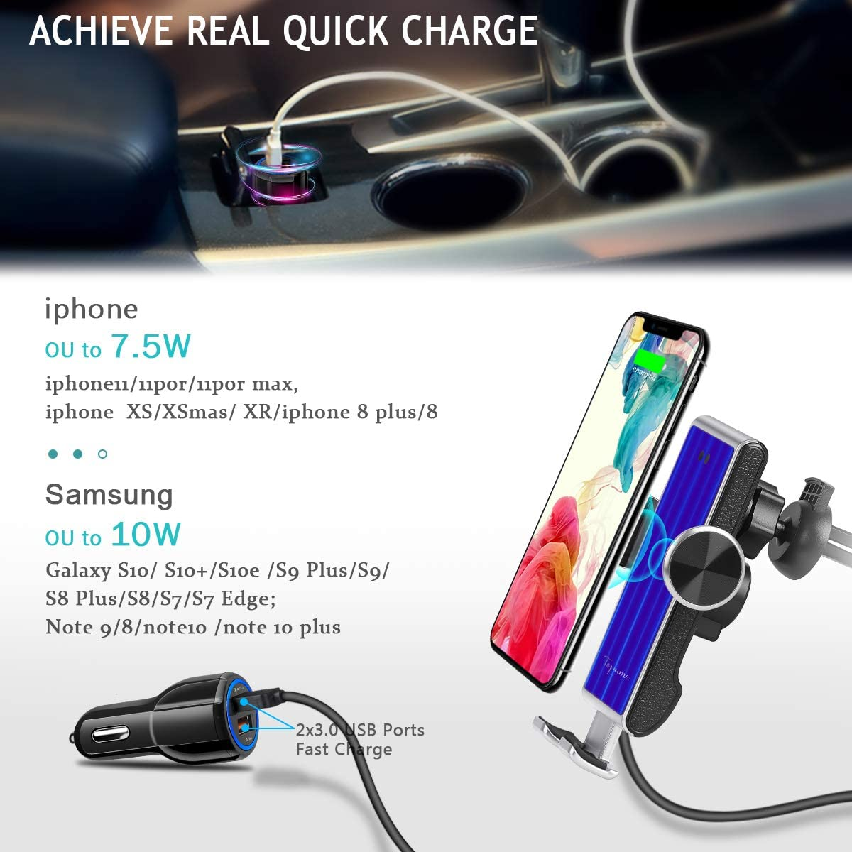 Fast Charging for iPhone11//11Pro//11ProMax//XSMax//XS//XR//X//8//8+,Samsung S10//S9//S8//Note10//Note9 Silver Car Phone Mount Wireless Charger Auto-Clamping Car Phone Air Vent Holder Wireless Car Charger