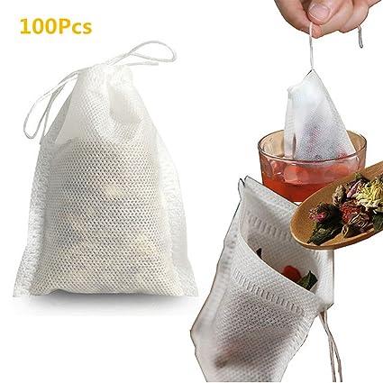 GerTong 100 bolsas desechables con cierre de cordón para té ...
