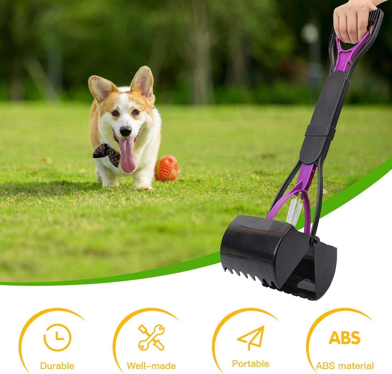 Utensilios de Limpieza para Gatos y Perros al Aire Libre//Interior Recogedor de Dientes de Mango Largo para Mascotas Plegable para Limpieza de Arenas 60,96 cm s/ólido dentado Azul port/átil