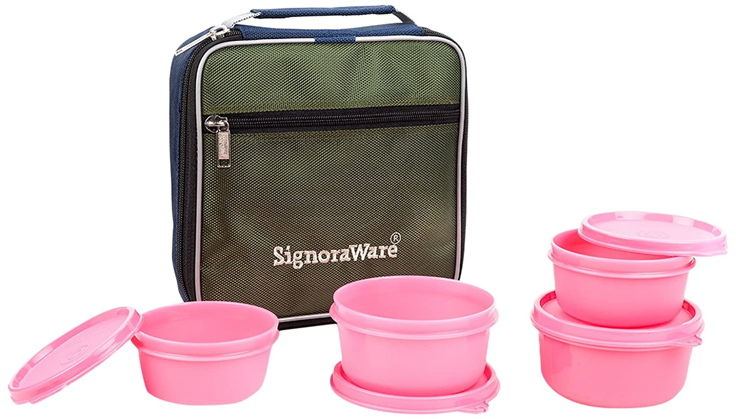 Signoraware Fresh Lunch Box With Bag, Pink