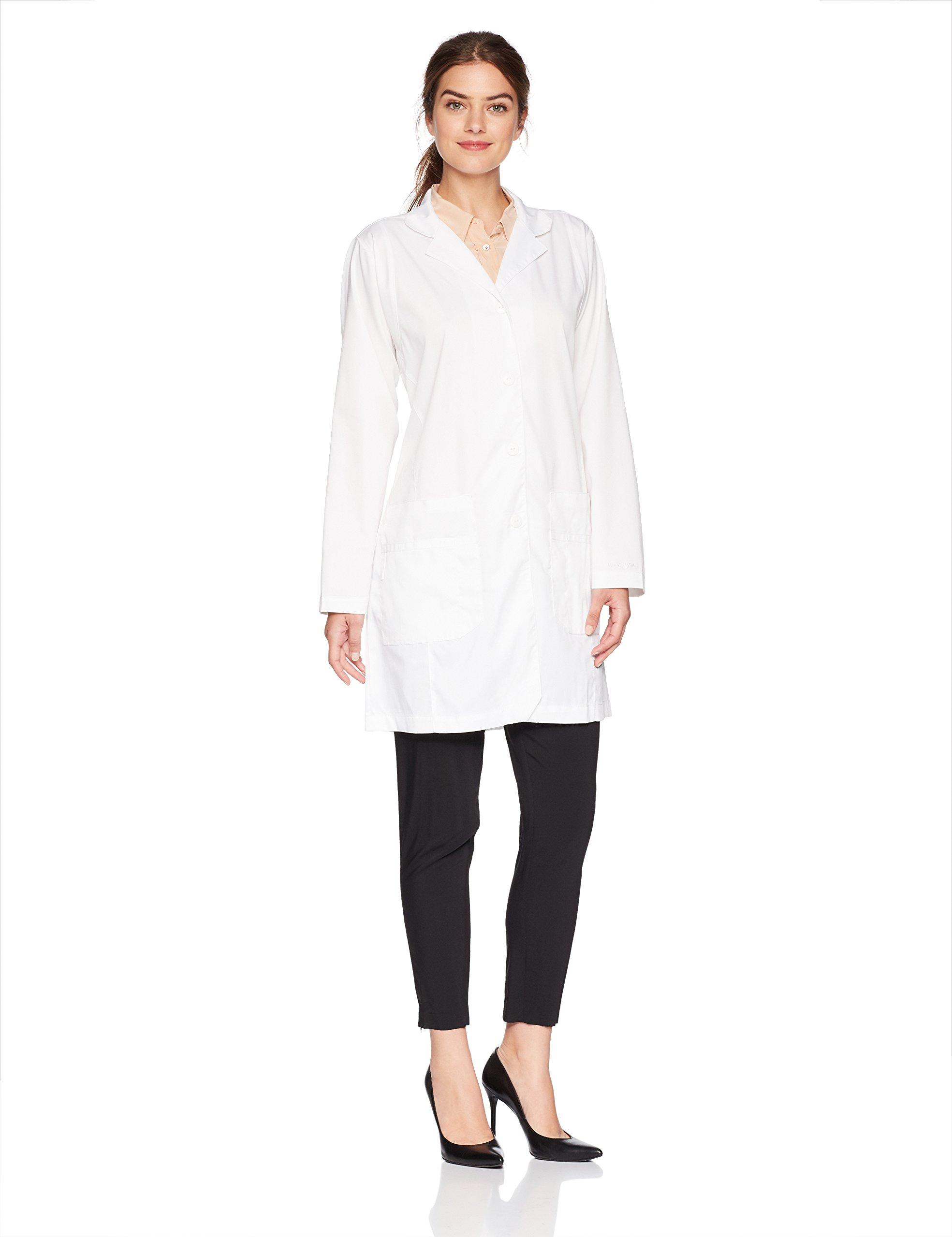 WonderWink Women's Plus Size Fashion Lab Coat, White, 2X-Large