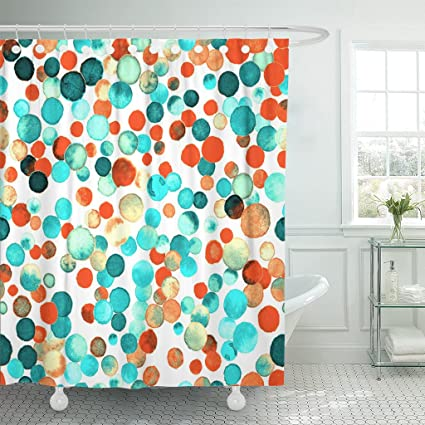 Amazon TOMPOP Shower Curtain Watercolor Confetti Hand Charming