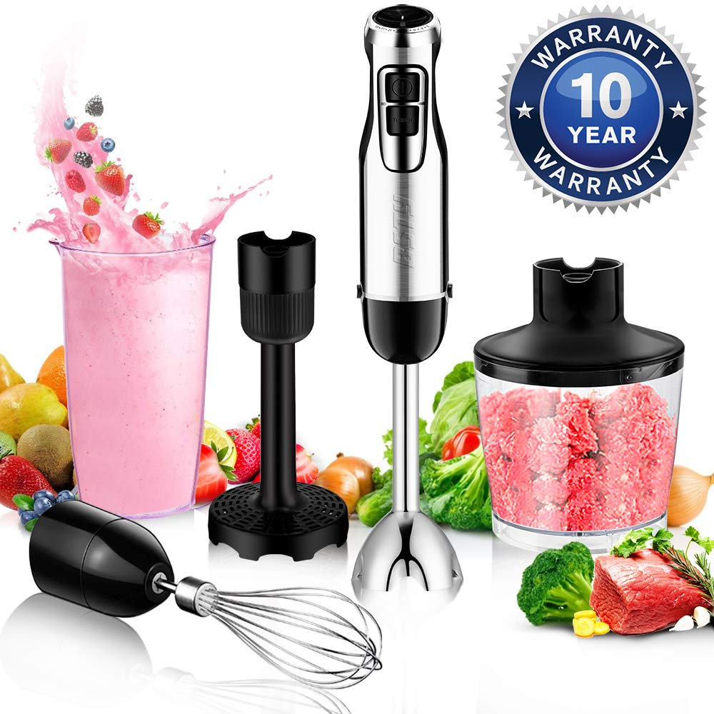 BSTY 5-in-1 Hand Blenders Set 15-Speeds Powerful Immersion Blender with 500-Watt Motor and Turbo Boost Button for Maximum Power,Hand Held Blenders by BSTY home
