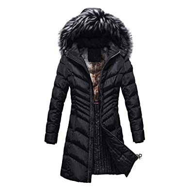 Custom Ruiming Royalty Winter Slimming Coat for Women I Thick Warm Jacket Parka w/Removable Fur Hoodie: Clothing