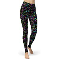 sissycos Women's Artistic Splash Printed 80s Leggings Brushed Buttery Soft Pants Regular and Plus Size