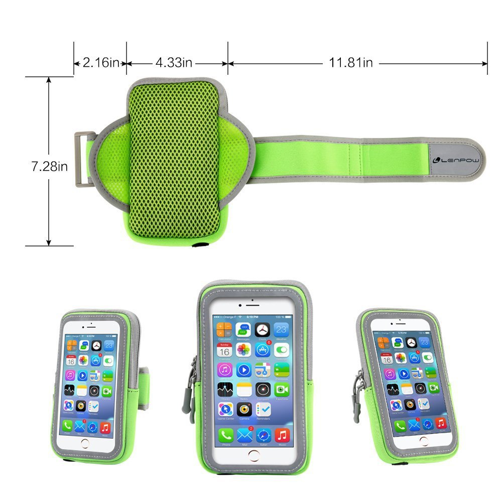 LENPOW Multifunctional Outdoor Sports Armband Sweatproof Running Armbag Casual Arm Package Bag Gym Fitness Cell Phone Bag Key Holder for iphone 8 7Plus 6sPlus Samsung Galaxy Note 5 4 S8 S7 Edge Plus