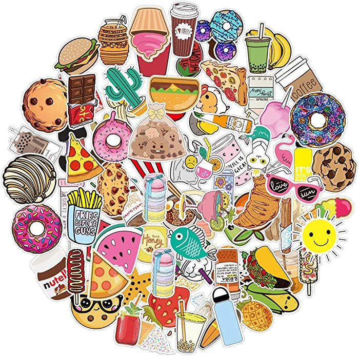 Vsco Cute Food Stickers for Water Bottles 100 Pcs Waterproof Aesthetic Trendy Stickers for Teens Kids Girls and Boys, Perfect for Laptop Notebook Tablet Phone Car Travel Extra Durable 100% Vinyl