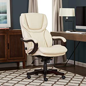 Serta Big and Tall Executive Office Chair with Wood Accents Adjustable High Back Ergonomic Lumbar Support, Bonded Leather, Ivory