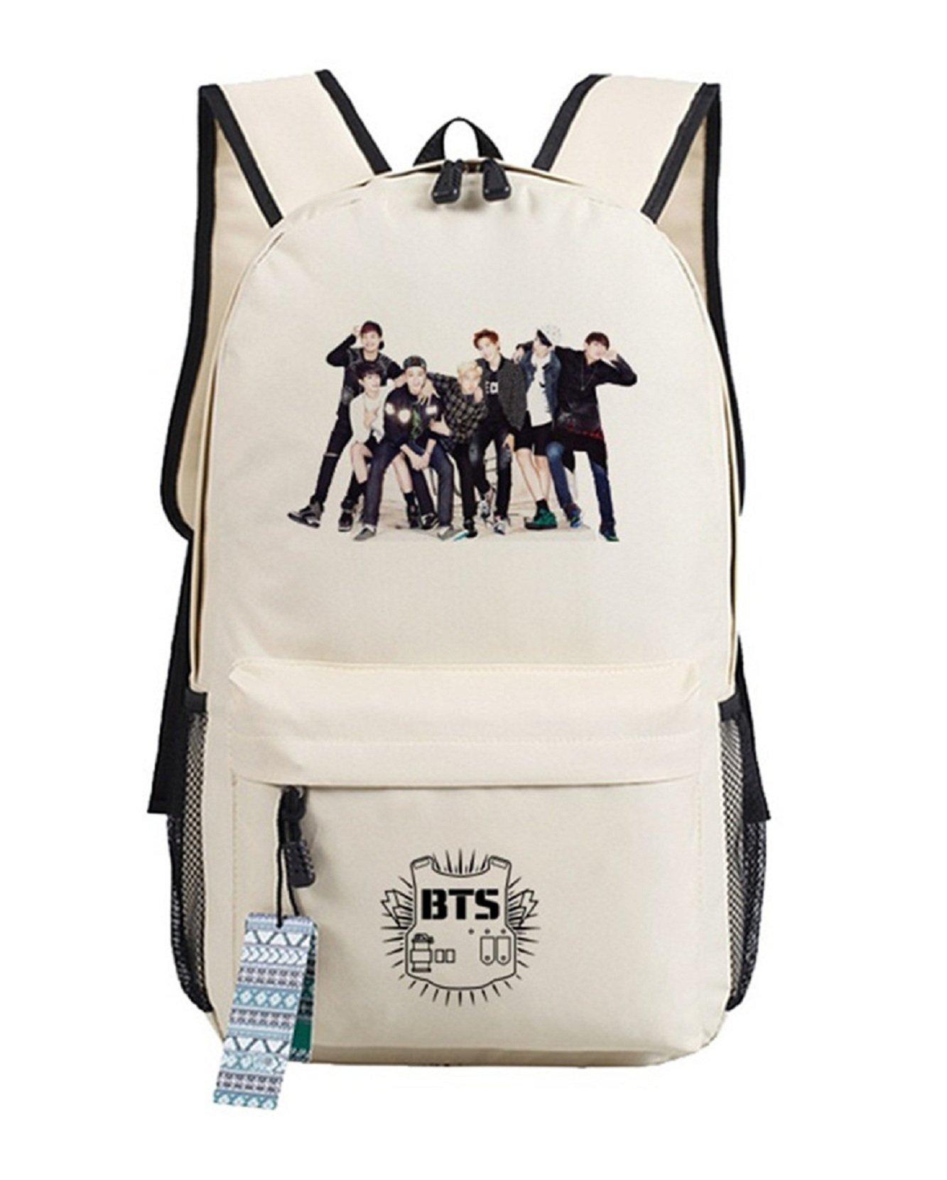 JUSTGOGO Korean Casual Backpack Daypack Laptop Bag College Bag Book Bag School Bag (Beige 2)