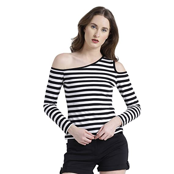130f7b2c7fb TEXCO Black and White One Shoulder Striped Women Tops: Amazon.in: Clothing  & Accessories
