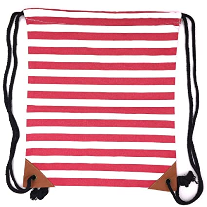 a480385747c2 Amazon.com  Canvas Drawstring Backpack Sackpack Bag - Red White ...