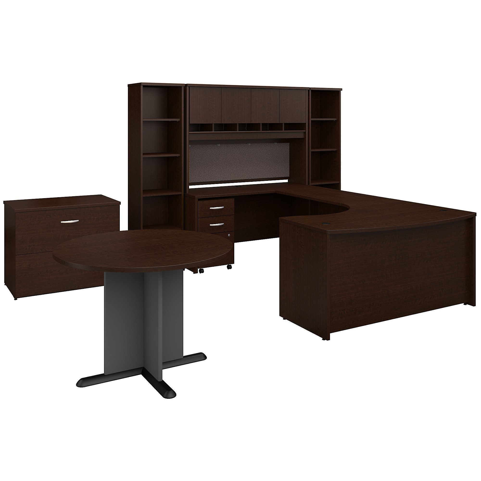 Bush Business Furniture Series C 60W Left Handed Bow Front U Shaped Desk with Storage and Conference Table in Mocha Cherry