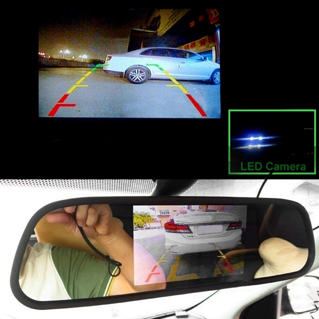 Moniteur de Miroir Universel de 4,3 Pouces Aide au stationnement Automatique Moniteur HD sans Fil 2,4 GHz avec cam/éra de recul de Ballylelly