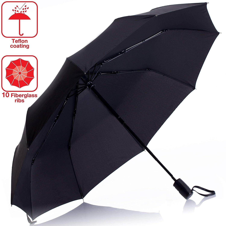Durable傘防風 – 軽量コンパクト傘for Every Day防水Heavy Duty傘の男性と女性 – 10のリブ  ブラック B07HY7XX5C
