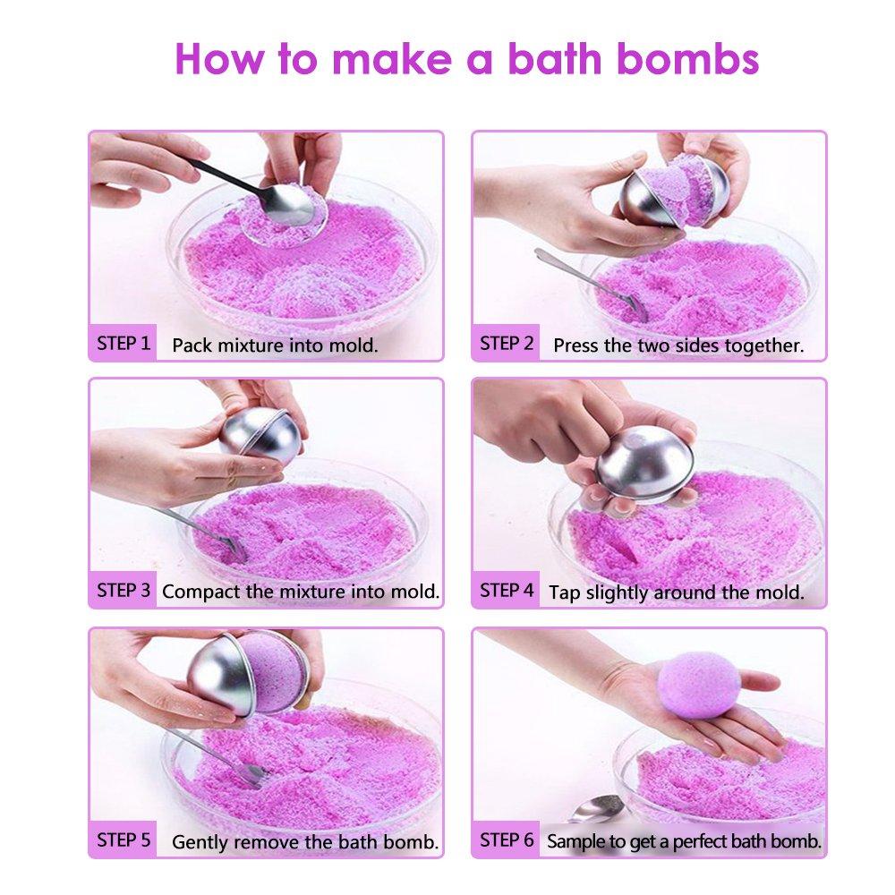 Yotako Kit de molde para bombas de baño, forma de bomba de baño de metal, 6 juegos de 12 piezas con 50 bolsas de depilación y 1 mini sellador de calor para ...