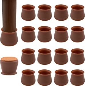 Maylai 36pcs Chair Leg Protector Cups, Felt Bottom Soft Silicone Furniture Foot Protector Pads Furniture Table Feet Covers for Floor scratchless, Noiseless, Brown (2'' to 2.3'')