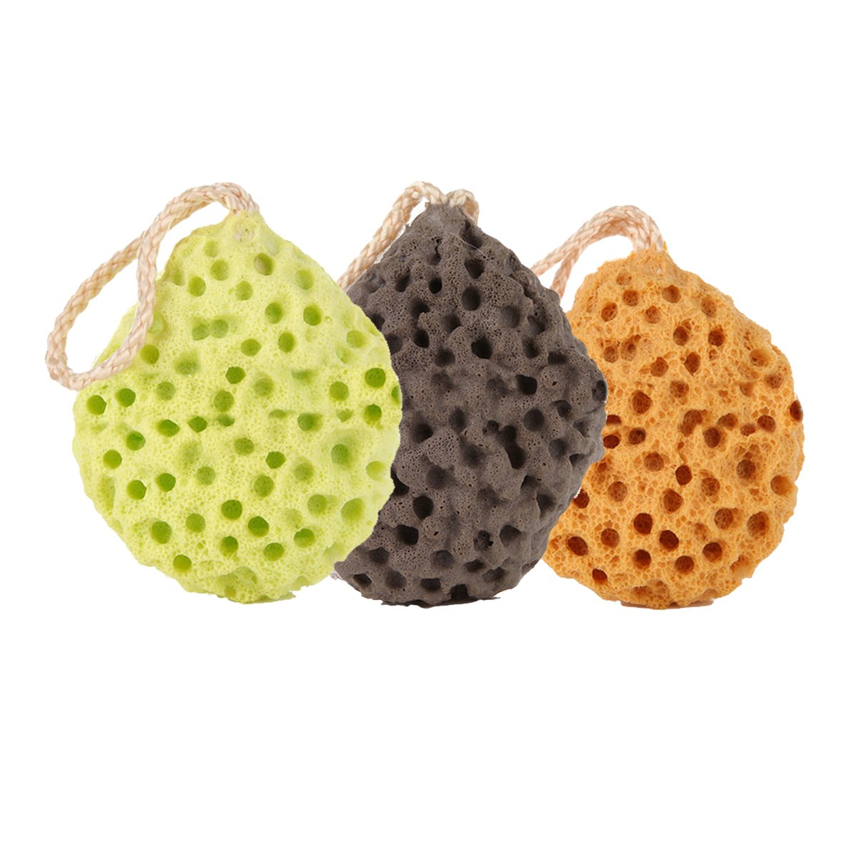OWNFUN Set of 3 Sea Sponge Pouf Bath Shower Ball Cleaning Baby Face Washing