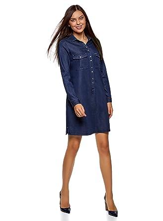 Oodji Ultra Damen Jeanskleid Mit Brusttaschen Amazonde Bekleidung