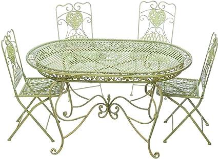 aubaho Conjunto Mesa 4 sillas de jardín de Hierro Verde Silla Mobiliario Nostalgia: Amazon.es: Jardín