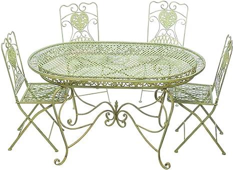 Aubaho Set Tavolo Da Giardino 4 Sedie Da Giardino In Ferro Verde Sedia Mobili In Stile Amazon It Giardino E Giardinaggio