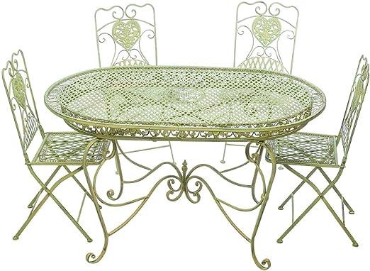 Offerte Tavoli Da Giardino In Ferro.Aubaho Set Tavolo Da Giardino 4 Sedie Da Giardino In Ferro Verde