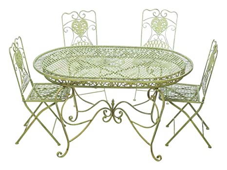 Tavoli E Sedie Da Giardino In Metallo.Set Tavolo Da Giardino 4 Sedie Da Giardino In Ferro Verde Sedia