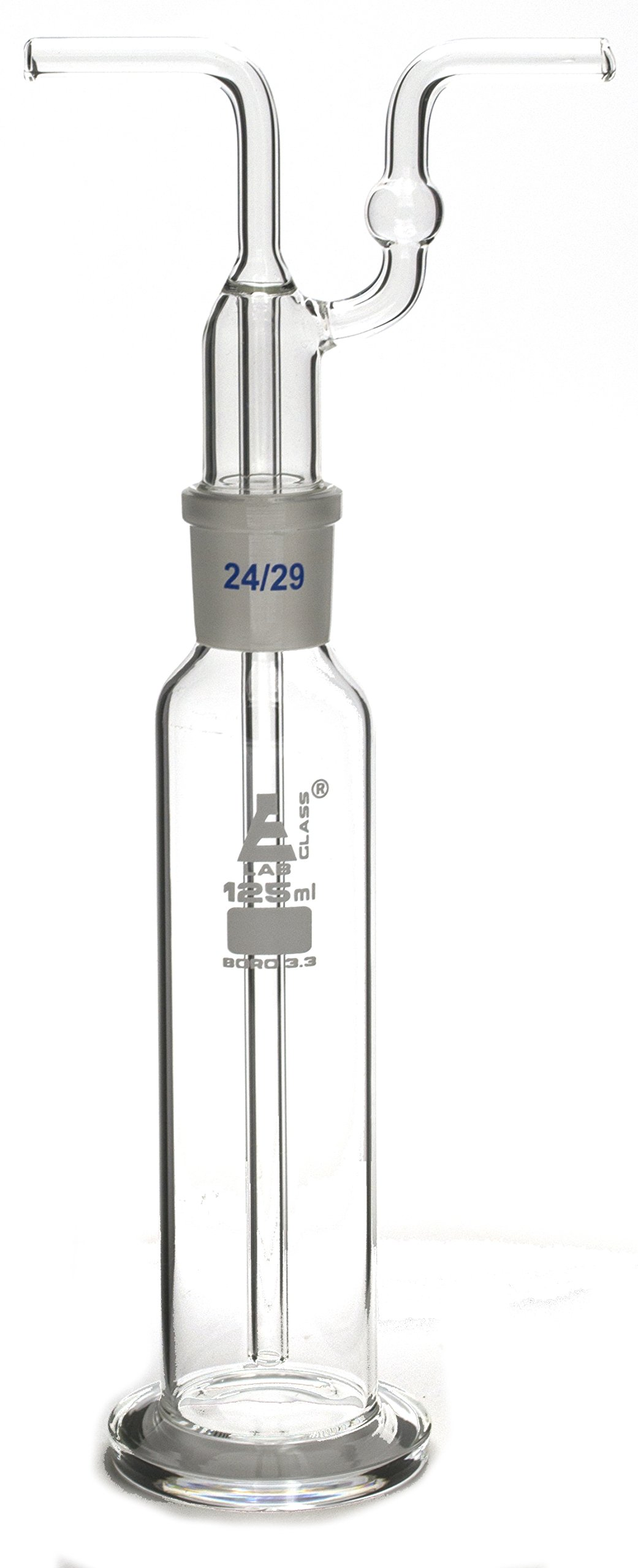 125mL Drecshel's Bottle for Gas Washing, Interchangeable Joint Head 24/29, Borosilicate 3.3 Glass - Eisco Labs by EISCO