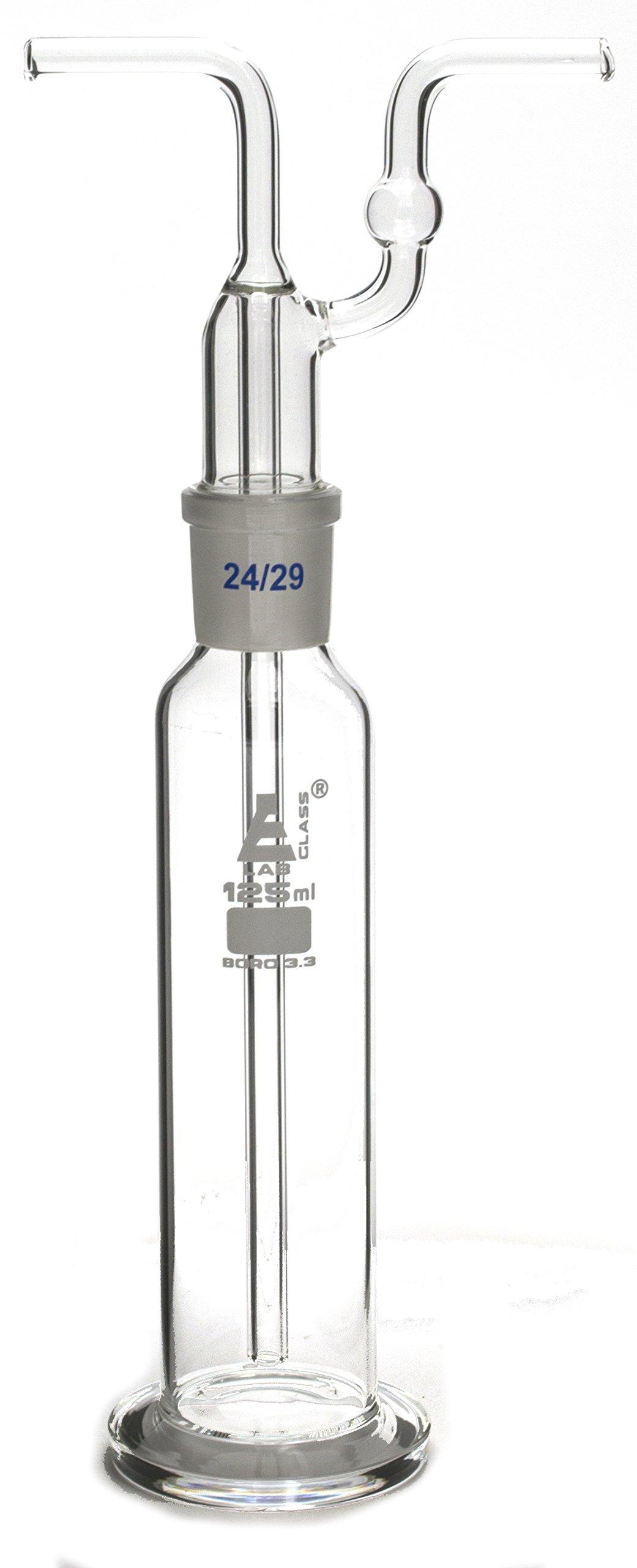 125mL Drecshel's Bottle for Gas Washing, Interchangeable Joint Head 24/29, Borosilicate 3.3 Glass - Eisco Labs