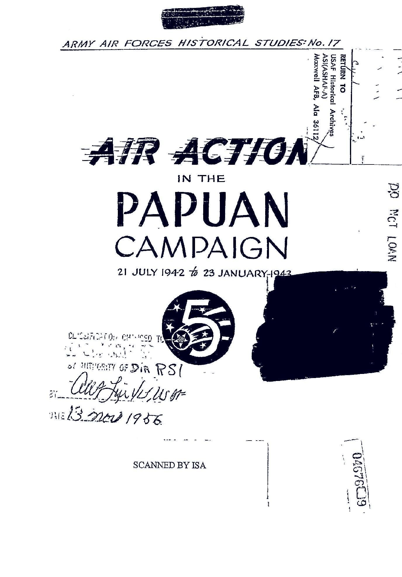 Download Air Action in the Papuan Campaign, 21 July 1942 to 23 January 1943, (Facsimile Reprint of 1944Edition) pdf epub