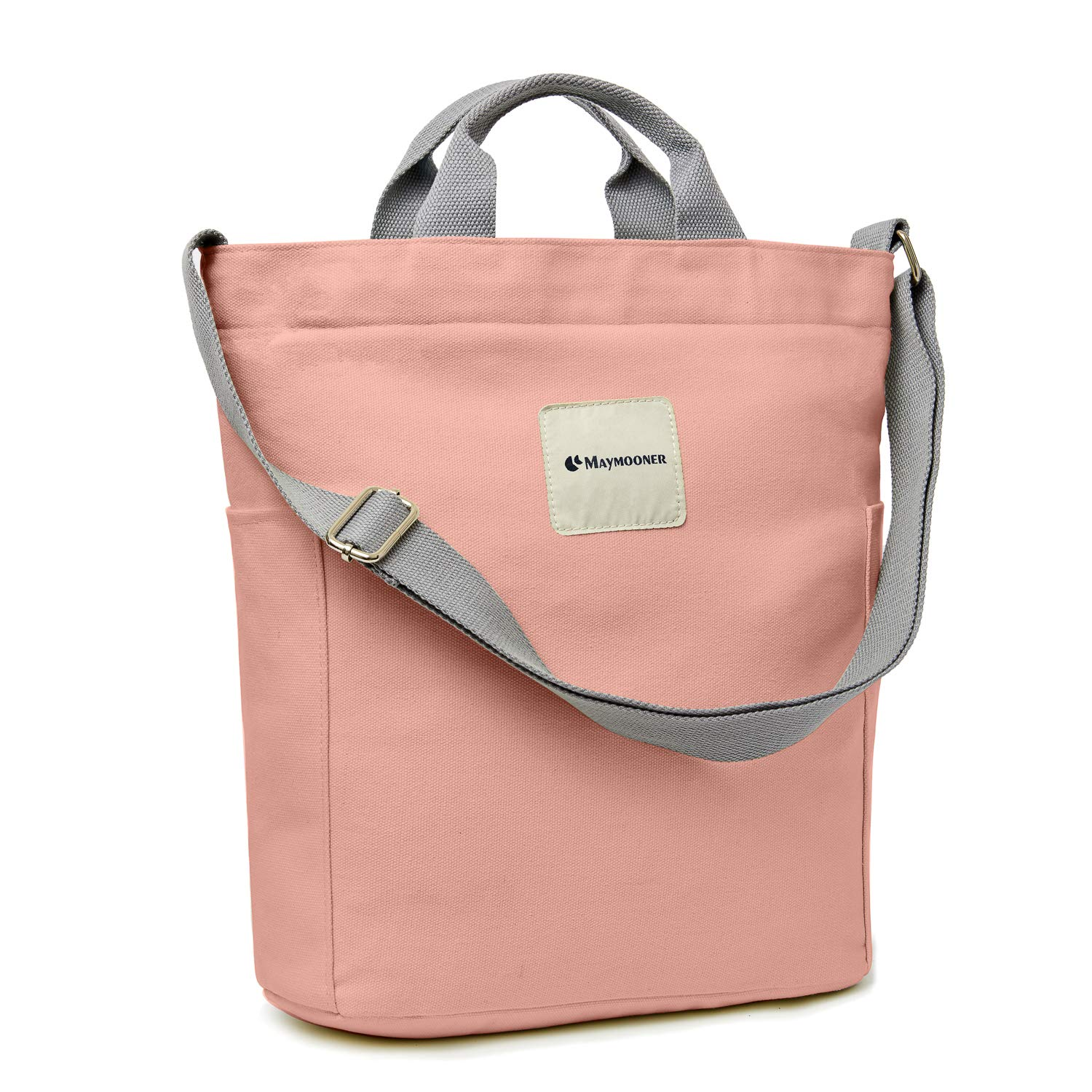 Canvas Tote Bag with Zipper and Pocket Casual Crossbody School Planner Hobo Bag for Women