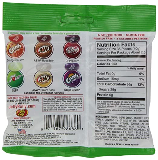 6ac5b1434 Amazon.com : Jelly Belly Soda Pop Shoppe Jelly Beans, 6 Soda Flavors,  3.5-oz, 12 Pack : Grocery & Gourmet Food