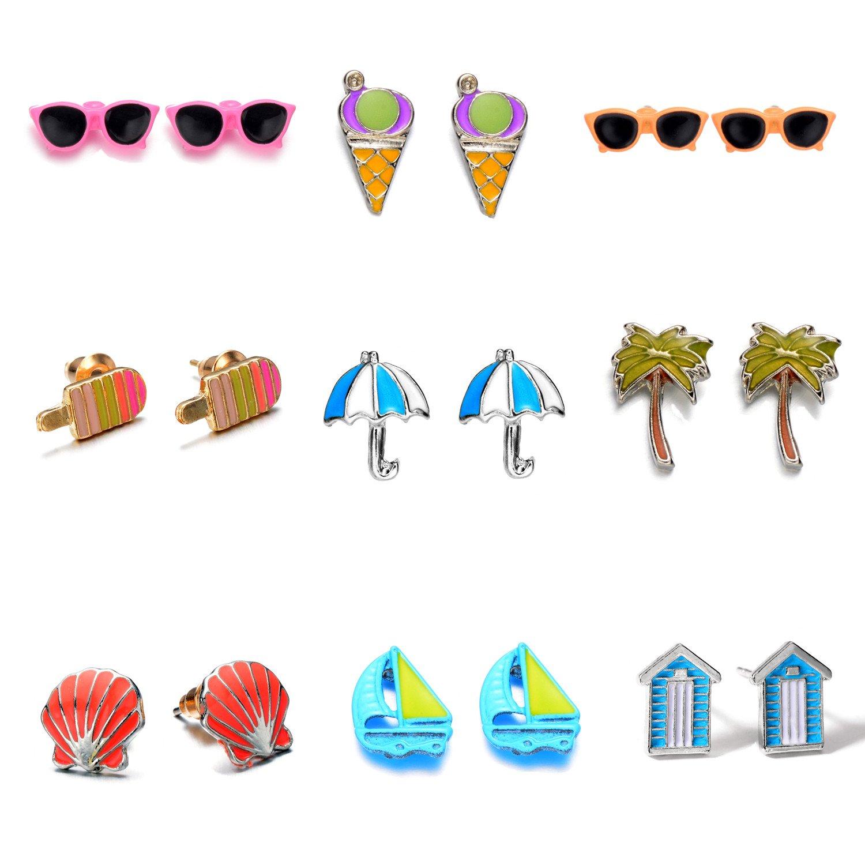 Multi Pairs Disc Ball Earrings Set for Girls, Hypoallergenic Foma E-0002