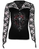 Spiral - Women - VAMP FANGS - Lace Neck Goth Top Black