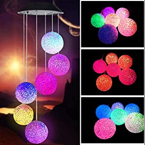 SIX FOXES Crystal Ball Solar Wind Chime, Wind Chimes Outdoor with Color Changing LED Mobile Patio Lights, Romantic Décor for Garden Yard Home, Gifts for Mom, Wife, Grandma