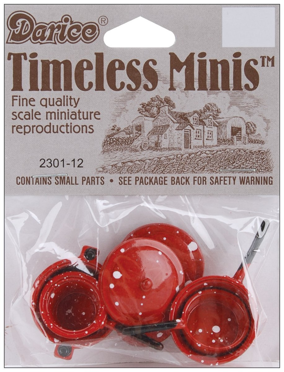 Darice Timeless Miniatures-Blue Pots & Lids 4/Pkg Notions - In Network 2301-01