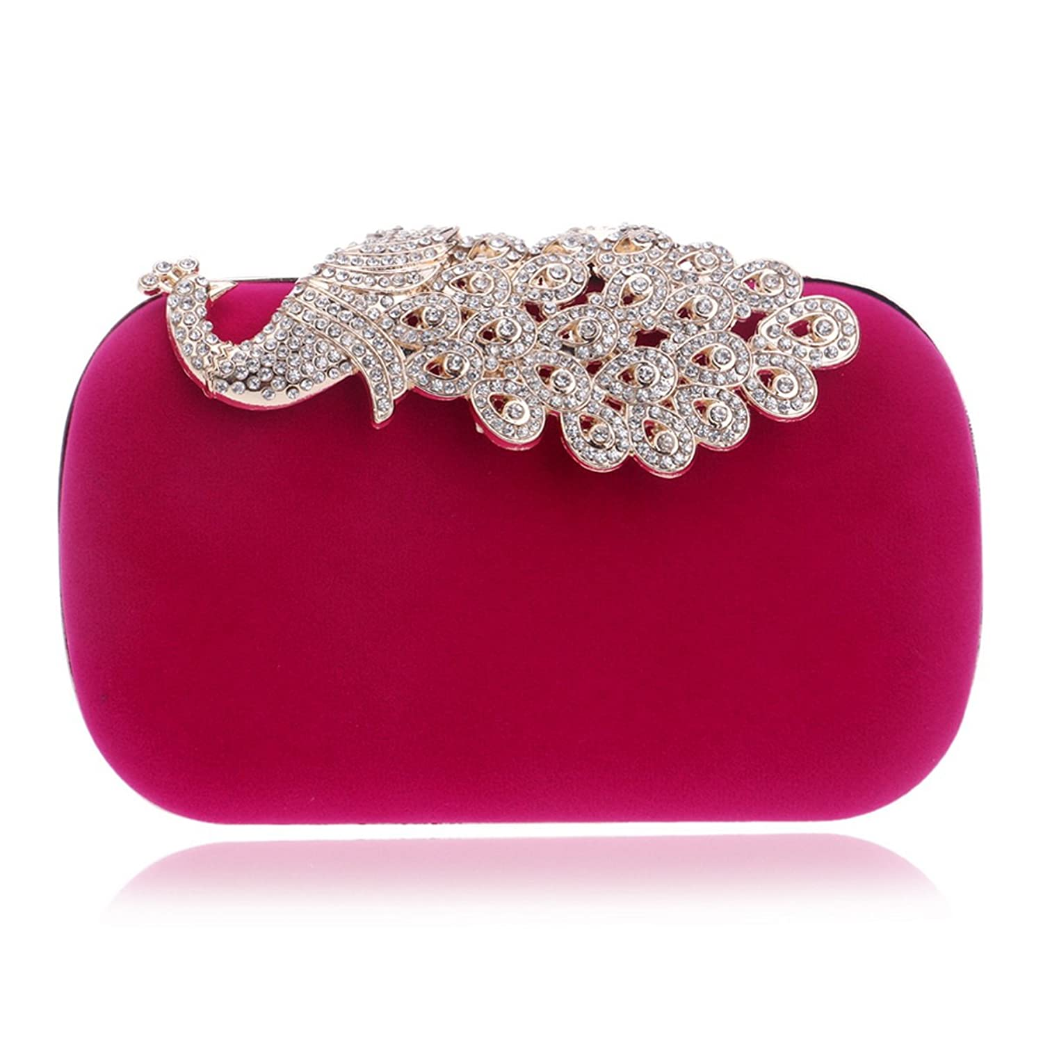 HAPPYTIMEBELT Women s Handmade Velvet Wedding Clutch with Rhinestone  Peacock Clasp high-quality e97503f9bd211