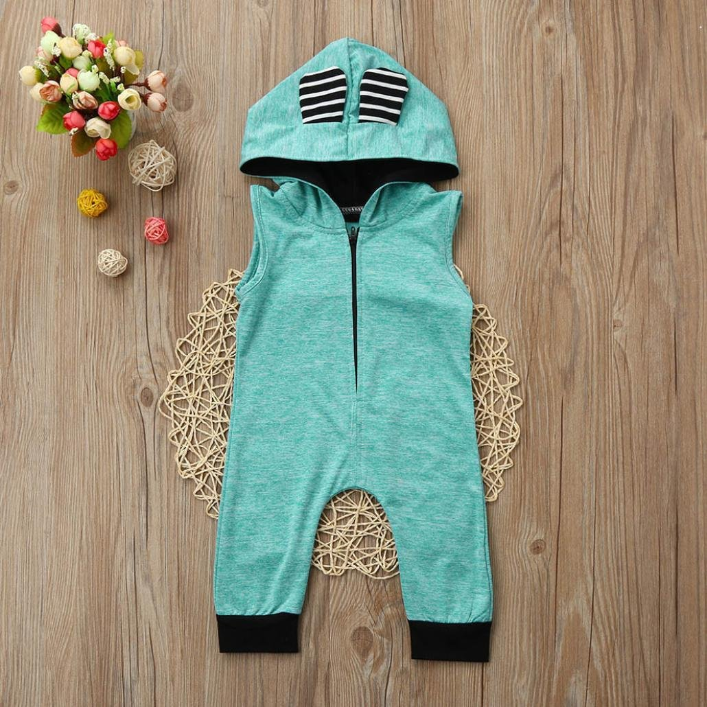 DIGOOD Toddler Baby Boys Girls Sleeveless Ears Hooded Jumpsuit,for 0-18 Months,Fashion Playwear Romper Clothes
