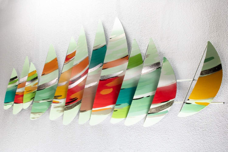 Modern Boote Segel Bunt Design Wanddeko XXL handgefertigt Metallbild Wandrelief KunstLoft Extravagante Metall Wandskulptur Wochenende am Meer 150x50x6cm Wandbild modern