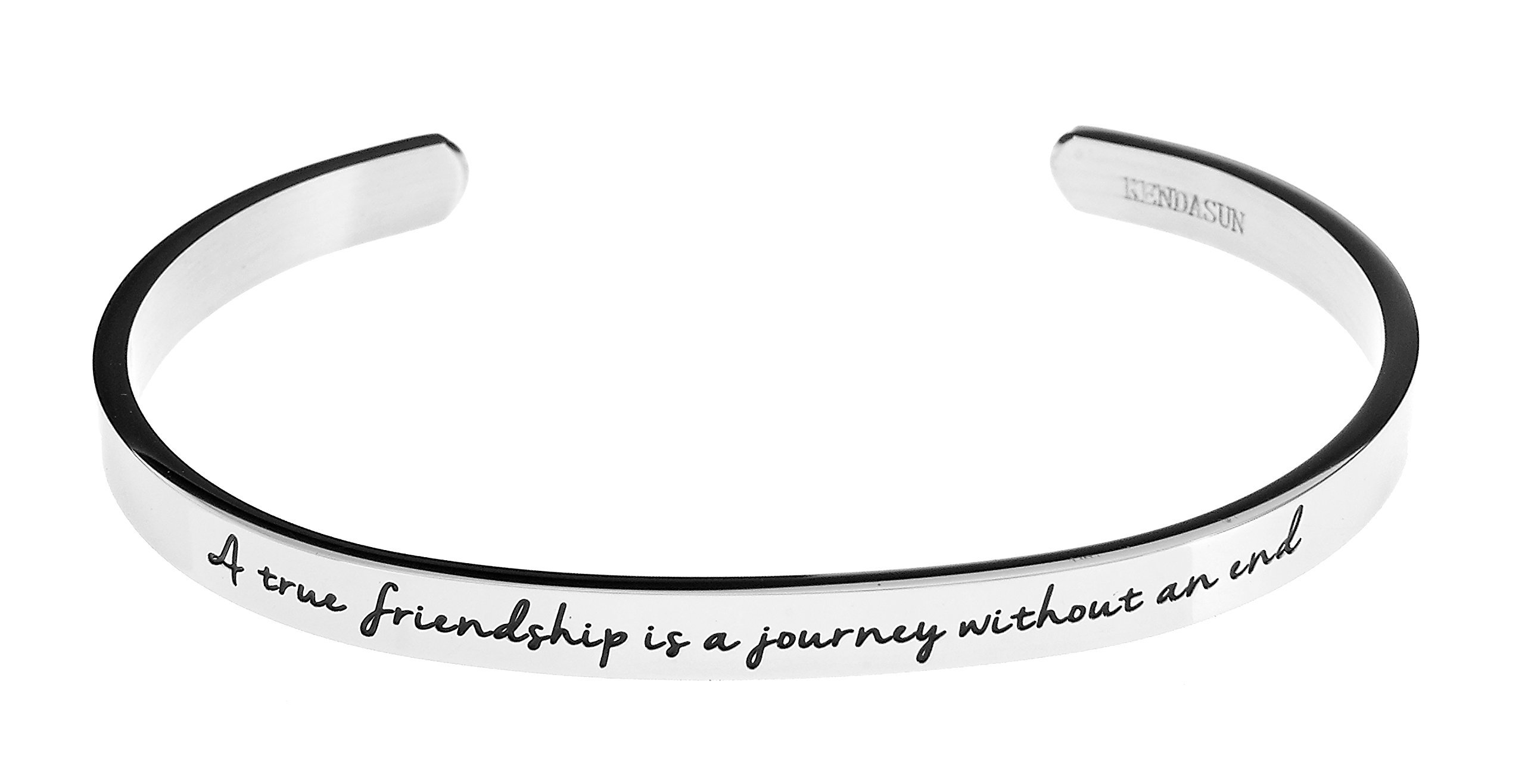 ''A true friendship is a journey without an end.'' Premium Stainless Steel Cuff Bangle Bracelet (White)