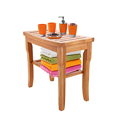 Bamboo Shower Seat Bench, Plant Shelf Bath Stool Bench with Storage Shelf for Indoor or Outdoor: Home & Kitchen